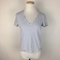 Zara Trafaluc Women's V-Neck White & Blue Striped Classic Tee T-Shirt Size Small