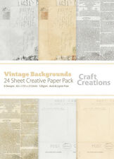 Craft Creations A5+ Scrapbook Paper Vintage Style Postcards & Newspapers 120gsm