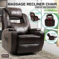 Massage Chair Recliner Leather Vibrating Heat Sofa Lounge Swivel w/Remote Brown