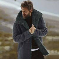 Men's Winter Collared Jackets Coat Imitated Sheepskin Warm Wool Lined Outerwear