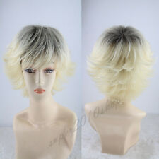 2019 Lady Short Straight Lace Front Wig Sythetic Hair Blond And Black+Free Cap