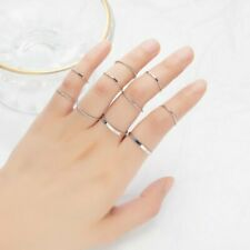10Pcs Ins Style Simple Plain Rings Set Jewelry Women Girls Party Charm 6-8 Size