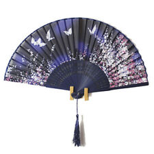 Chinese Bamboo Folding blue Silk Hand Fan with Flowers Wedding Party Gift
