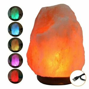 NEW HIMALAYAN SALT LAMP CRYSTAL USB PINK ROCK SALT LAMP NATURAL LED MULTI COLORS