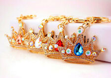 King Queen Royal Crown Crystal Diamante Bag Charms Handbag Keyrings Pendant