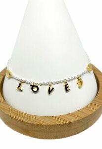Genuine PANDORA Sterling Silver & Gold LOVE SCRIPT Bracelet 20cm 567804 ALE