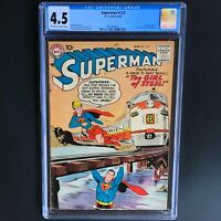 SUPERMAN #123 (DC 1958) 💥 CGC 4.5 OW-W 💥 SUPERGIRL TRYOUT ISSUE! RARE KEY