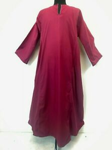 Vintage Saggy Brand Long Tunic Caftan size XL Red Egyptian Cotton Djellaba S10