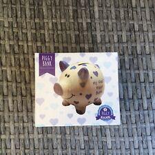 Baby Boy Gift My First Piggy Bank Blue White Ceramic Pig Christening New In Box