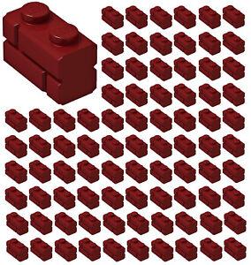 ☀️100x NEW LEGO 1x2 DARK RED Modified Masonry Profile Bricks Wall #98283 Parts