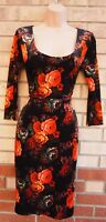 MISS SELFRIDGE BLACK ORANGE FLORAL VELVET LONG SLEEVE PENCIL BODYCON DRESS 8 S