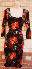MISS SELFRIDGE BLACK ORANGE FLORAL VELVET LONG SLEEVE PENCIL BODYCON DRESS 8 S