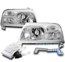 FOR 99-03 SUZUKI GRAND VITARA CRYSTAL CHROME HEADLIGHT LAMP +BLUE DRL LED+6K HID