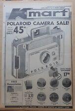 1966 full page newspaper ad for Polaroid model 104 camera, Swinger & accessories