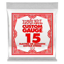 Pack of Six Ernie Ball Custom Gauge .015 Single Strings -1015