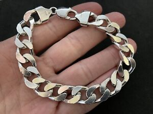 Mens Sterling Silver Curb Bracelet. UK Hallmark. 63 grams.  9.0 inch