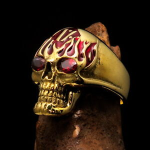 Perfectly crafted Men's Outlaw Biker Ring Red Flaming 1% Skull with CZ Eyes