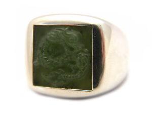 John Hardy Mens Size 10.25 Legends Naga Green Jade Dragon Silver Signet Ring NWT