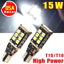 2X 1400 Lumens CAN-BUS T10 High Power 15W LED White Backup Reverse Light Bulbs