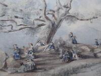 PICNIC BRADGATE PARK LEICESTER ARTIST J E HODGKIN 1851 FREE SHIPPING TO ENGLAND