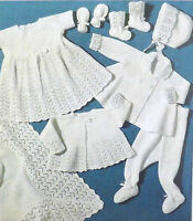 Baby Shawl/Blanket Knitting Pattern Vintage Coat Bonnet Dress Bootees 3Ply S298