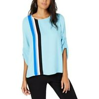 New Alfani Striped Tulip Sleeves Blouse Shirt Top Women's Size Small NWT