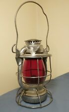 New York Antique Railroad Lantern, Dietz Vista, red globe