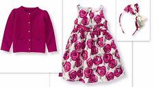 NWT Janie & Jack PLUM PERFECT 3 Rose Dress Sweater Cardigan Headband OUTFIT SET