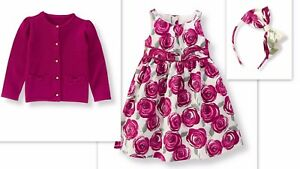 NWT Janie & Jack PLUM PERFECT 3 Rose Dress Sweater Cardigan Headband OUTFIT SET