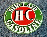 SINCLAIR PORCELAIN GASOLINE GAS HC OIL SERVICE STATION PUMP PLATE SIGN