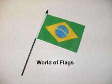"BRAZIL SMALL HAND WAVING FLAG 6"" x 4"" Brazilian Crafts Table Desk Top Display"