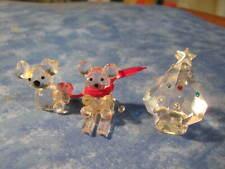 LOT OF 3 MINIATURE CRYSTAL TEDDY BEARS AND CHRISTMAS TREE