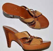 COLE HAAN COUNTRY SZ 8 AA NARROW BROWN LEATHER SUEDE PLATFORM SLIDE SANDALS