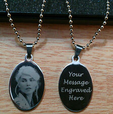 Personalised Engraved Oval Necklace Pendant Army Dog Tags Birthday Gifts