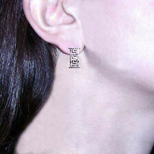 950 Platinum Greek Key Design Earrings #E1090.