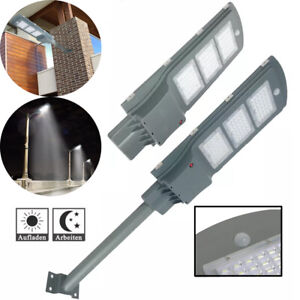LED Straßenlaterne IP65 Kaltweiß Solar Hofbeleuchtung 60W Lichtsensor Strahler