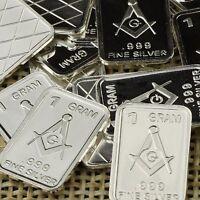 """Mason - FreeMason Symbol"" Lot of 10, 1 gram .999 Fine silver bullion bar. 'NEW'"