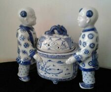INCENSE BURNER Chinese Extra Large Incense Blue & White Porcelain 2 Males