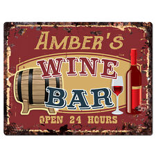 PWWB0139 AMBER'S WINE BAR OPEN 24Hr Rustic Tin Chic Sign Home Decor Gift