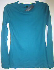 LADIES CENTRAL PARK WEST TEAL LS ROUND NECK KNIT TOP SIZE SMALL # 164-TOP