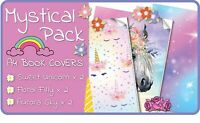 Mystical A4 School Book Covers - 6 pack Slip-On PVC Jackets, Book Covers