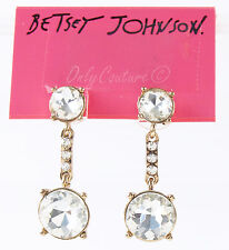 Betsey Johnson ICONIC GLAM Clear Crystal Rose Gold-Tone Drop Earrings NEW