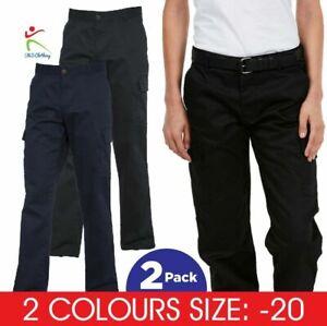 2 PACK UNEEK Ladies BLACK NAVY Combat Cargo Trousers Workwear Bottoms Pants