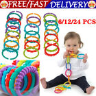 UK 24Pcs Rainbow Teether Ring Links Plastic Baby Kids Infant Stroller Play Toys