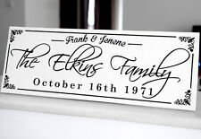 """Personalized Family Sign Plaque Wedding or Anniversary Gift 8x22"""" Solid Wood 016"""