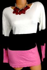 $60 August Silk white/pink color block round neck stretch knit top M