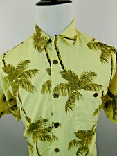 Tahiti Bay Hawaiian Aloha Shirt XL Tropical Palm Trees Leaves Short Sleeves