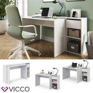 Vicco Schreibtisch Ben Computertisch ausziehbar Arbeitstisch Bürotisch Weiß