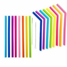 Premium Quality Silicone Reusable Long & Extra Wide Drinking Straw, 8 Color Avai