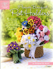 """FLOWER BOUQUET POT HOLDERS""~Annie's Crochet PATTERN BOOK~6 Designs~SEE PICS~NEW"